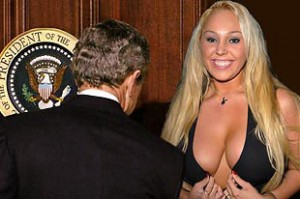 President George W. Bush and porn actress Mary Carey, 2005